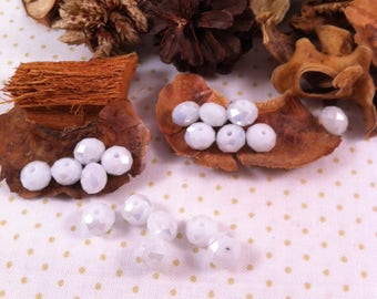 10 Crystal beads, faceted, white, 6 x 6 mm