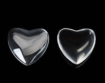 2 cabochon heart shape clear glass for creations of jewels taille18X17 mm