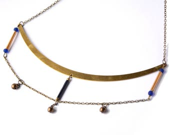 Ethnic gold bow necklace and recycled coffee Capsules - Aztec inspired necklace