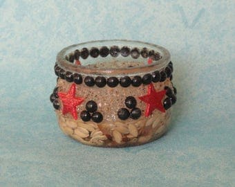 GLASS STAR CANDLE RED AND BLACK BEADS