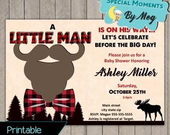 Lumberjack Moose Baby Shower Invitations - It's a boy Baby Shower Invitation - Buffalo Plaid Forest Baby Shower - FREE Backside