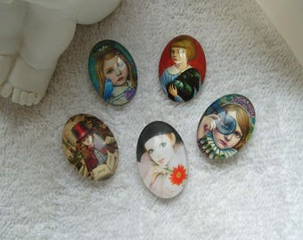 ANIMAL characters CABOCHONS set of 5 cabochons 2.5 cm oval glass cameos media birds and girls