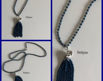 TASSEL NECKLACE Long crystals necklace with handmade tassel