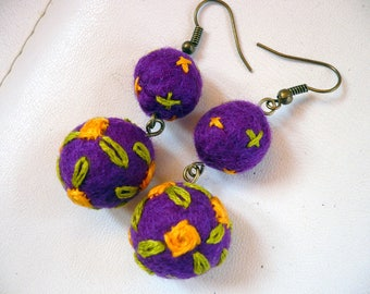wool felted and embroidered purple and orange beads earrings