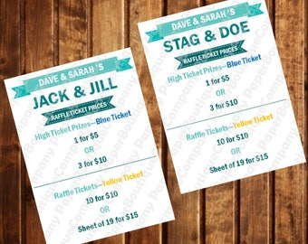 Jack & Jill Raffle Ticket Price Sign, Stag and Doe Raffle Ticket Price Sign - Wedding fundraiser