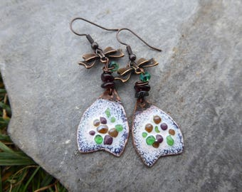 rustico vintage enamel and Pearl gemstone earrings