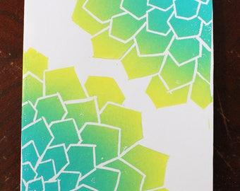 Handprinted 2 Succulet Card