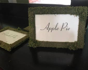 Moss Covered Wedding Table Frames 5x7 - glass window 4x6