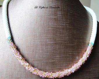 Necklace Beadweaving, spiral crochet adorned with Crystal bicones