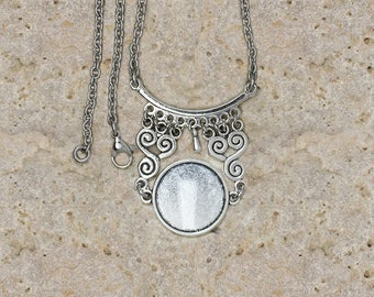 support cabochon 20 mm necklace scroll work