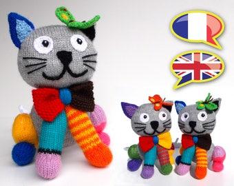 KNITTING tutorial/pattern: Making the Chamusant Bungey kitten colours / Splash the cat