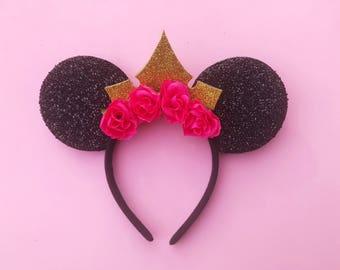 Sleeping Beauty Mickey Ears Aurora Disney Inspired Floral Minnie Ears