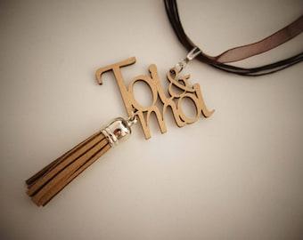 Original necklace made of mdf - you & me