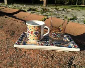 Turkish coffee set-  Traditional Turkish coffee porcelain set-Espresso set- Turkish Coffee Cup,glasss and coffee Saucer porcelain-Painted