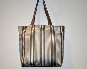 Tote bag, beach bag, cotton, gray tone and white, ticking stripe pattern
