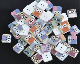 Set of 10 wooden squares owls buttons