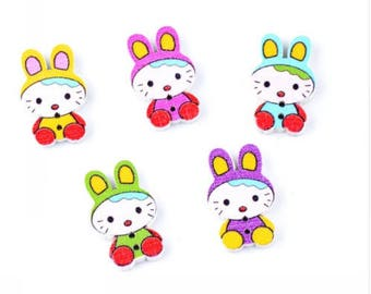 Set of 10 wooden rabbits buttons