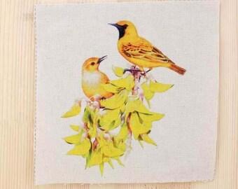 Patchwork birds fabric coupon
