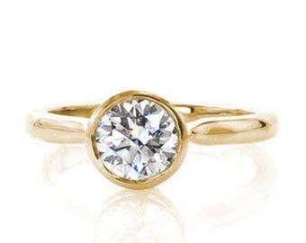 Bezel Yellow Gold Art Deco Diamond Engagement Ring 1.06 Ct