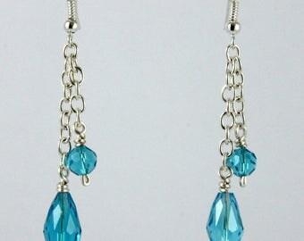 Boucles d'oreille chaîne perles facettes