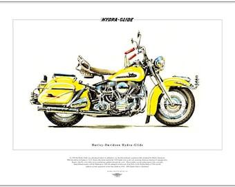 HARLEY Davidson Hydra Glide - American US Motor Cycle Fine Art Print