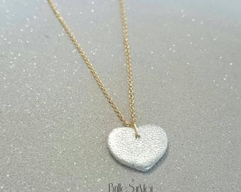 Gold filled Or 14 k heart BrilleSurMoi leather necklace