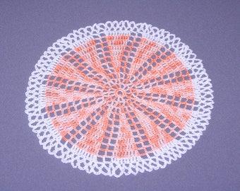 Doily crochet orange and white 21cm