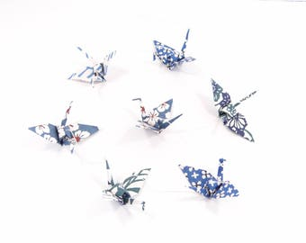 Origami Garland blue and white Japanese paper cranes