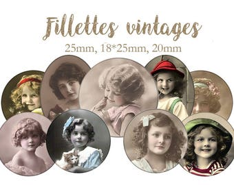 "Cabochons collage sheet / digital ""Filettes vintage girls, photo, sepia, black and white, retro"" circles and ovlales"