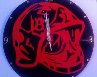 Clock / wall clock on vinyl record: Fireman helmet