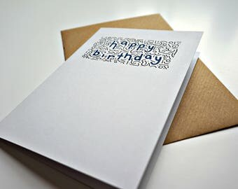 Contemporary 'happy birthday' doodle greeting card