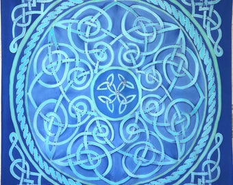 Turquoise blue scarf in celtic style.