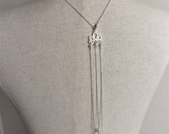 "Necklace back wedding jewel ""Amandine"" chain silver plated with swarovski pearls"