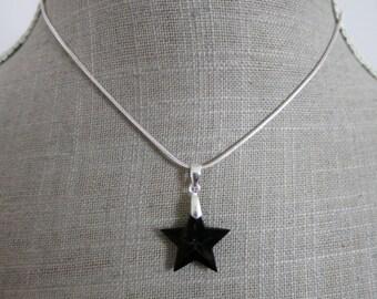 Black Swarovski Crystal star pendant