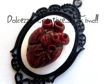 Cameo necklace - Anatomy of the heart - Anatomy - anatomical heart - horror
