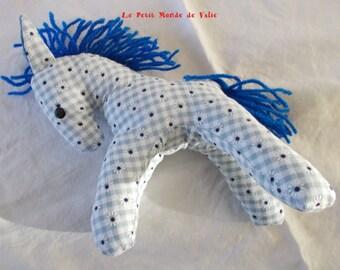 Pony blue flowered gingham maned Royal Blue