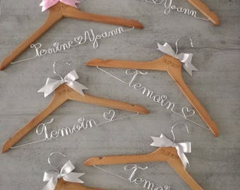 Adult set of six personalized hangers