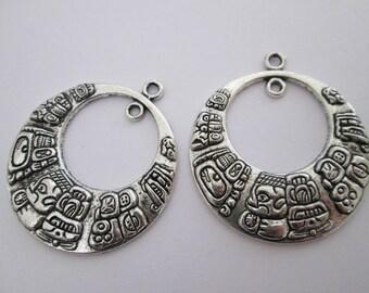 2 pendentif maya cercle 41 x 36 mm en métal argenté