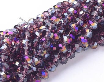 95 pcs Rondelle Faceted GLASS CRYSTAL Beads 6mm  Jewellery Making Medium PURPLE