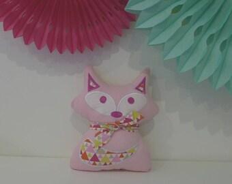 Plush Fox, pink pillow, geometric pattern _ideal birthday gift