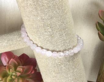 Rose Quartz Gemstone | Stretch Bracelet | Stacking Bracelet | Boho Bracelet | Crystal Bracelet | Healing Crystal Jewelry