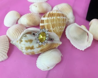 925 Yellow Stone Ring L170
