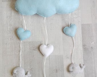 Blue cloud, heart and whale mobile