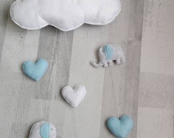 White cloud, heart and elephant mobile