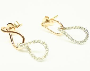 Pink & White Dangling Diamond 14K Solid Gold Earrings!!
