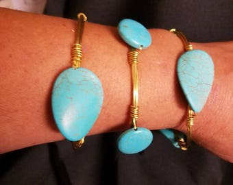 Faux Turquoise beaded bangles. Set of 3