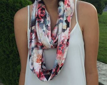 Pink multicolor floral inifnity scarf