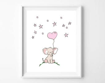 Elephant Art Print, Elephant Artwork, Elephant Decor, Nursery Animal Art, Nursery Printables, Printable Wall Art, Pink Elephant, Wall Prints