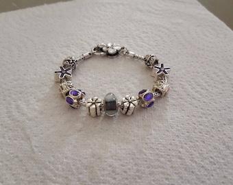 Pearl murano Burgundypandora/glass/crystal/purple/Silver 925 bracelet / flower / charm European/jewelry/gift/clover/enamel/Butterfly/Gift/party /.