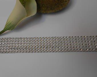 Ribbon effect silver rhinestone 50cm / 3cm